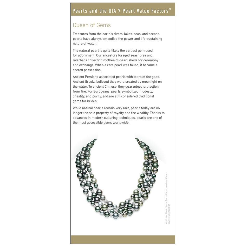 "7 Pearl Value Factors brochure panel, featuring heading ""Queen of Gems"", text, and black pearl necklace"