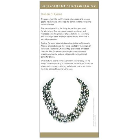 "Brochure panel ""Queen of Gems"" with image of black pearl necklace"