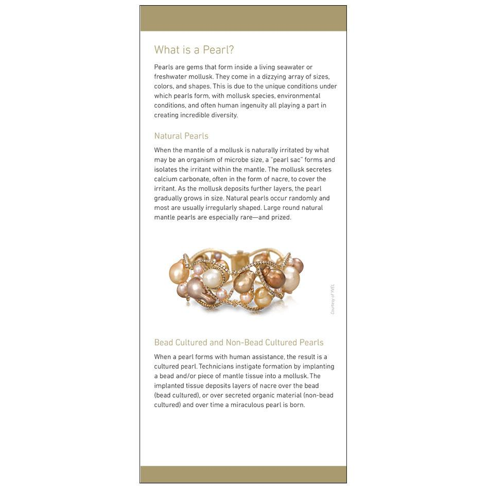 "7 Pearl Value Factors brochure, featuring heading ""What is a Pearl?"", text, and pearl braclet"
