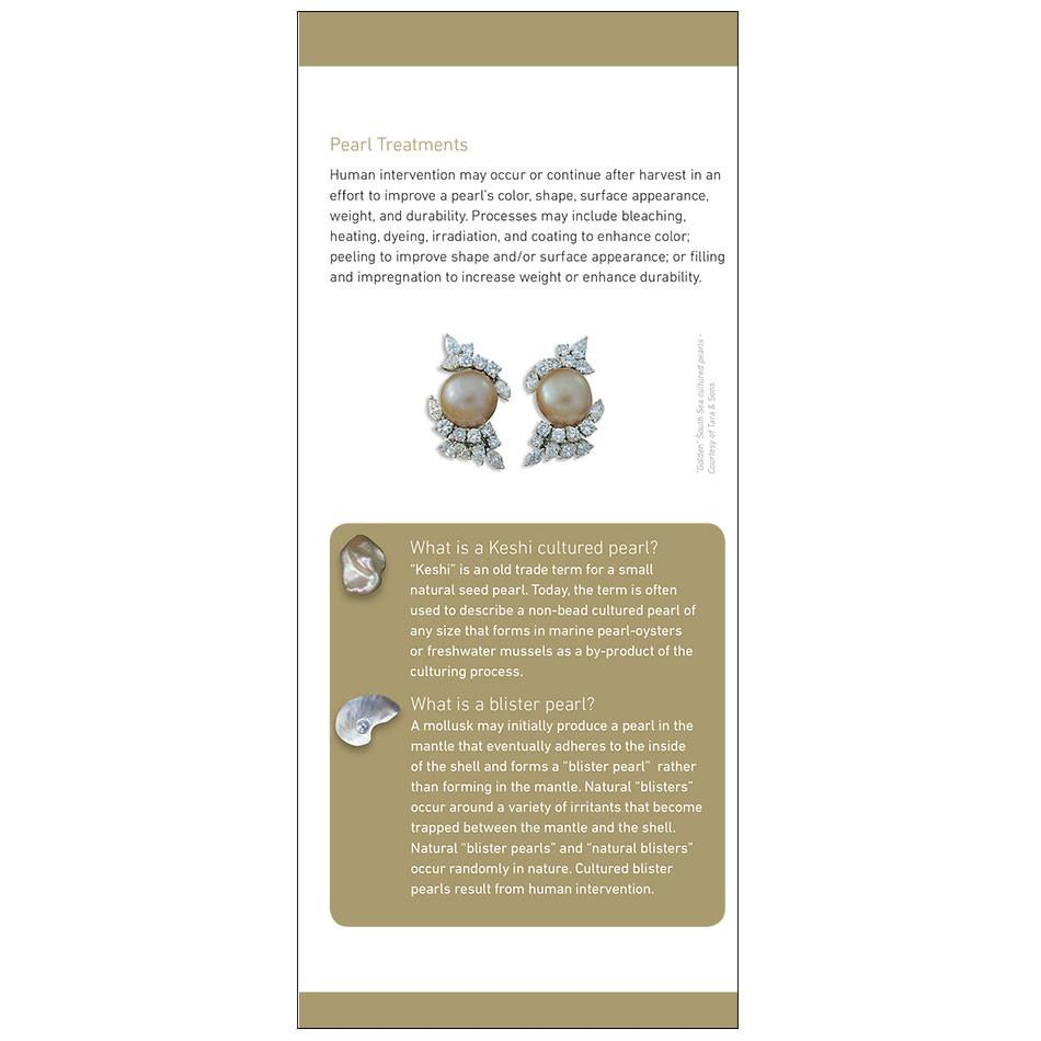 "7 Pearl Value Factors brochure panel, featuring heading ""Pearl Treatments"", text, and pearl earrings"