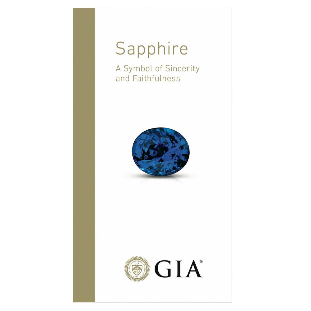 "Sapphire brochure front, featuring text ""Sapphire A Symbol of Sincerity and Faithfulness"", sapphire, and logo"