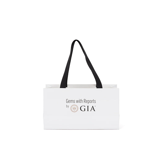 "GIA shopping bag front with text ""Gems with Reports by GIA"""
