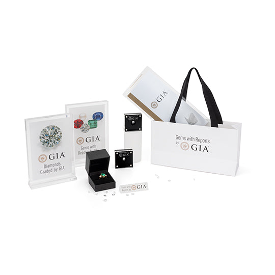 All displays and products included in GIA signage kit, shown with gemstones and jewelry