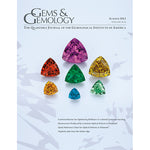 Cover of Gems & Gemology Summer 2013 issue, featuring gems of various bright colors