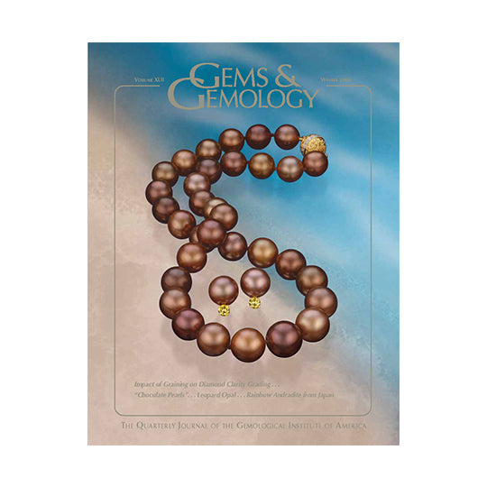 Cover of Gems & Gemology Winter 2006 issue, featuring string of brown pearls