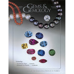 Cover of Gems & Gemology Winter 2002 issue, featuring colored gems and  strings of pearl
