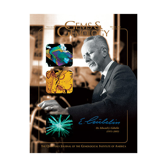 Cover of Gems & Gemology Winter 2005 issue, featuring Dr. Edward Gübelin and photomicrographs
