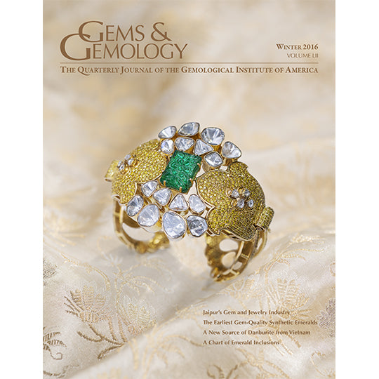 Cover of Gems & Gemology Winter 2016 issue, featuring intricate gold gem encrusted art object