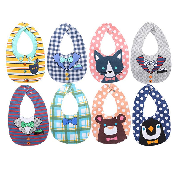 CARTOON WATERPROOF COTTON DOUBLE-SIDED BABY BIBS