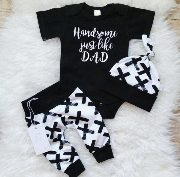 "3 Pcs ""Handsome Just Like Dad"" Outfit"