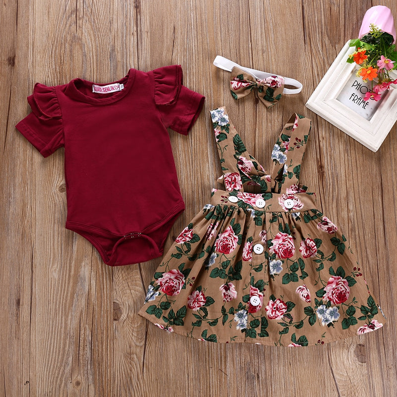 3 Pcs Floral Summer Dress Set