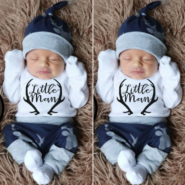 3 Pcs Little Man Romper Outfit