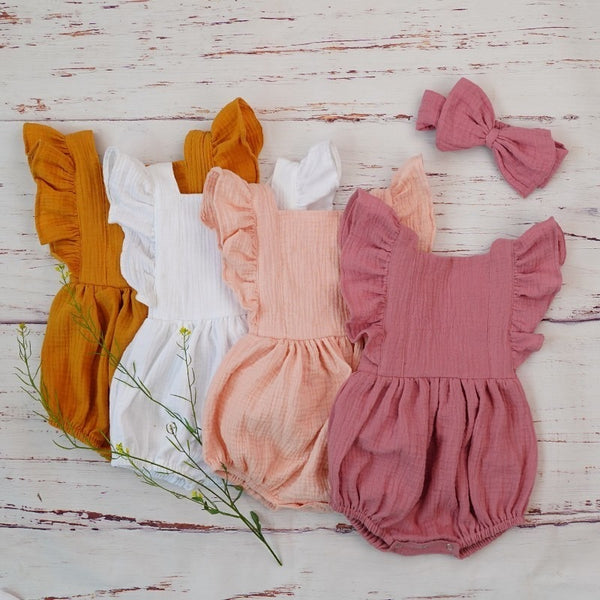 Ruffle Romper With Headband