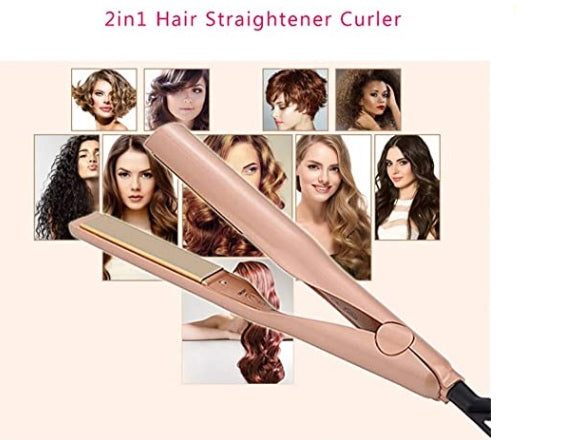 New Twisted Straightening Iron, 300°F to 450°F, 2 in 1 Hair Straightener and Curling Iron, Ceramic Titanium Plate Heating Gold - Pilemart