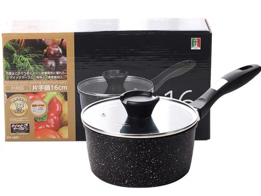 Sauce Pan with Glass Lid,Soup Pot Nonstick Saucepan Granite Coating - Pilemart