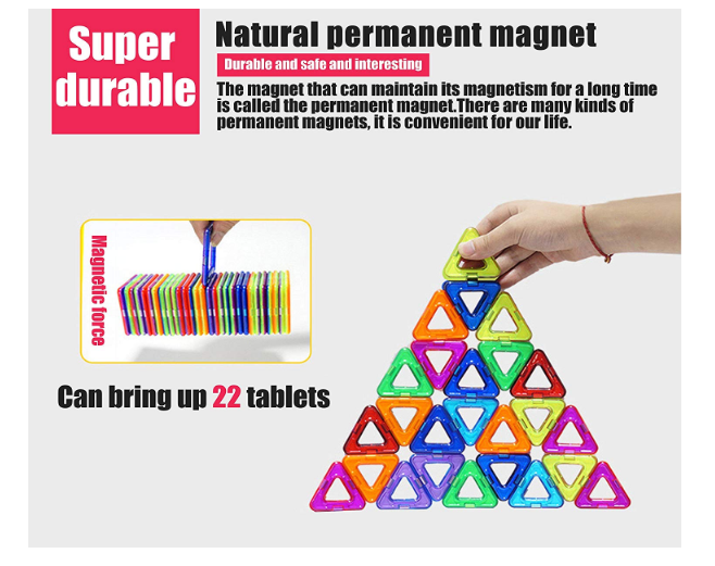 Magnetic Blocks, Building Blocks,Magnetic Toy Contain Square, Triangle, Large Triangle Magnets Toys for Girls & Boys - Deluxe Set (64pcs) (All Building Blocks) - Pilemart