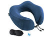 Travel Pillow for Airplane Train Car, Memory Foam Foldable U Shaped Neck Chin Support, Included Sleeping Mask and Earplugs, Blue - Pilemart