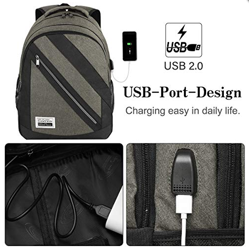 Laptop Backpack College Bookbag with USB Charging Port and Laptop Compartment fits 15.6 Inch Laptop Notebook for Business Office School Travel - Pilemart