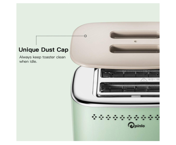 Toaster 2-Slice Stainless Steel Toasters with 2 Extra Wide Slots 6 Browning Dials and Removable Crumb Tray Warming Rack for Breakfast Bread Muffins Ovens Mint Green Retro Toasters - Pilemart