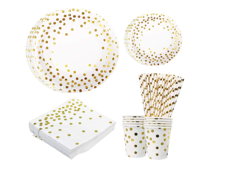 250 PCS Disposable Paper Plates Set, Tableware Sets Include 50 Dinner Plates, 50 Dessert Plates, 50 Paper Cups, 50 Paper Luncheon Napkins, 50 straws for Birthday Party, Wedding, Baby Shower - Pilemart