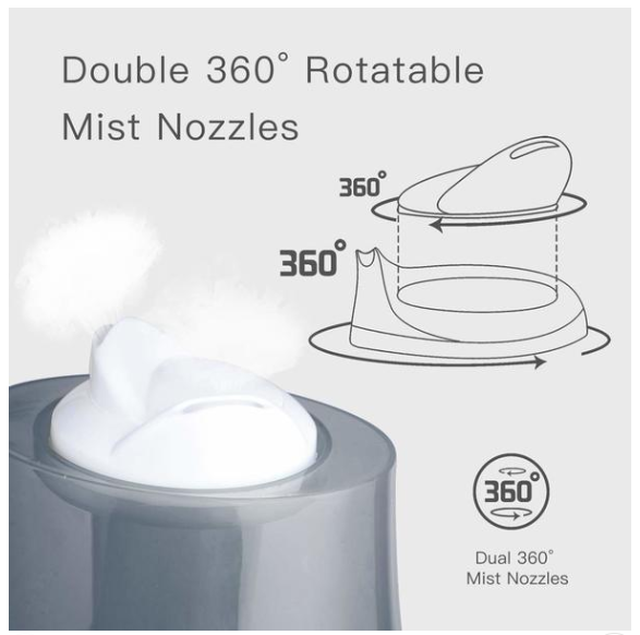 Cool Mist Humidifier - Premium Humidifying Unit with 2.2L Water Tank, Whisper-Quiet Operation, Auto Shut Off Adjustable Mist Mode Room Humidifiers for Kids Baby Office Bedroom - Pilemart