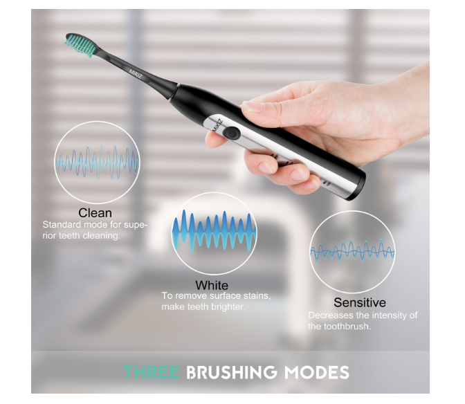 Electric Toothbrush, Sonic Electronic Whitening Toothbrushes Cordless Rechargeable with Smart Timer 3 Count Replacement Brush Heads (Black) - Pilemart