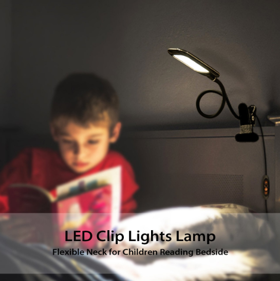 LED DESK LAMP, DIMMABLE, LVWIT 5W USB MAX CLIP ON LIGHTS STEPLESS DIMMABLE 5% TO 100% WITH ADJUSTABLE COLOR TEMPERATURE 3000K TO 6000K FLEXIBLE NECK FOR CHILDREN READING STUDY BEDSIDE BED BLACK - Pilemart