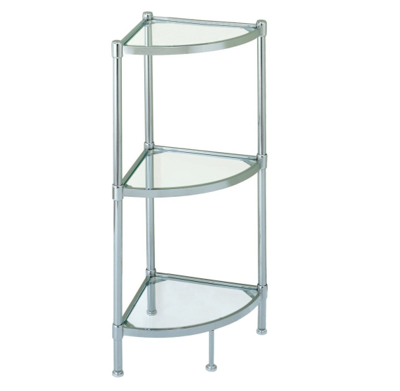 3 Tier Tempered Glass Freestanding Crescent Corner Bathroom Storage Tower - Pilemart