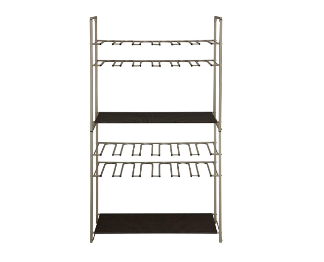 Boots organized shoe rack, Silver/Brown - Pilemart
