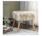 "17"" Square Ottoman Faux Fur Decorative Foot Stool, Tan - Pilemart"