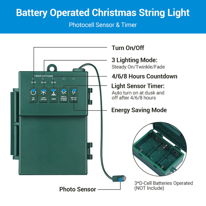 Christmas Lights Battery Operated 22.5FT
