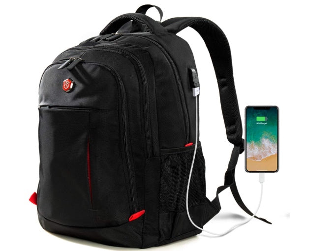 Laptop Backpack with USB Charging Port  (Black)