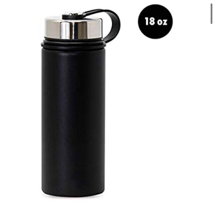 18 Oz Stainless Steel Vacuum Insulated Wide Mouth Water Bottle | Thermos Keeps Cold for 24 hours, Hot for 12 hours | Double Walled Powder Coated Travel Flask - Pilemart