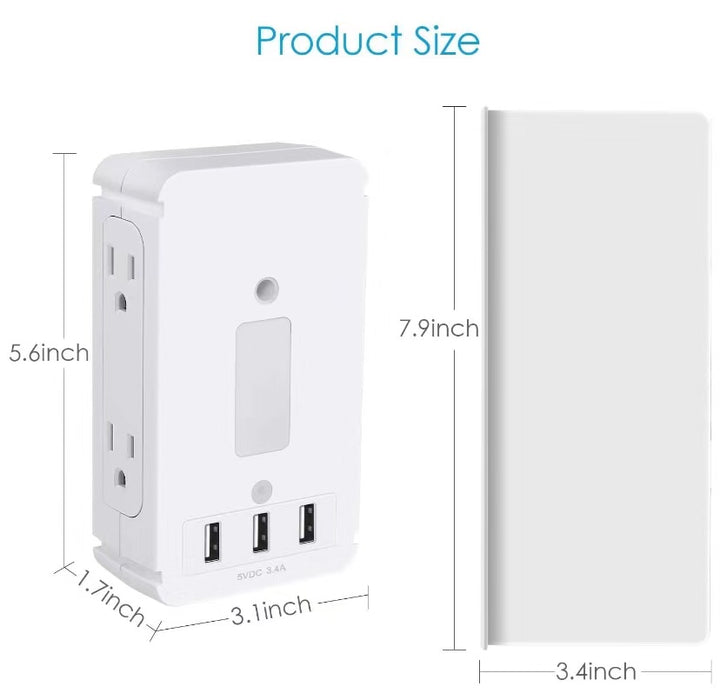 Electrical Outlet Extender with USB Ports