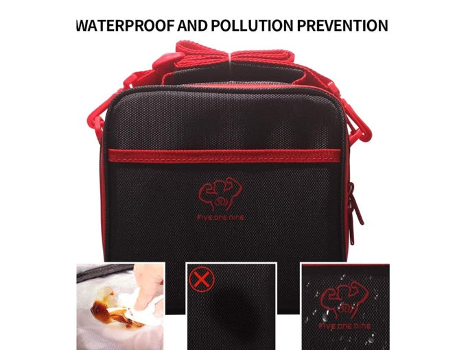lunch bag, cooler lunch bag for women, men. insulated and reusable, with 3 leakproof meal containers, for picnic, working, school and gym (black and red) - Pilemart