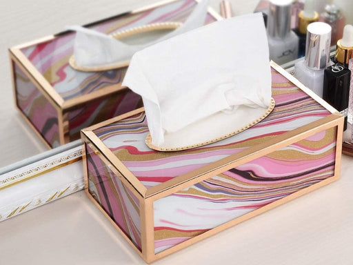 Decorative Tissue Box Cover Metal Rectangular Tissue Holder for Home Office (Pink/white) - Pilemart