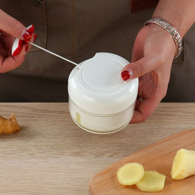 Mini Manually Cut Vegetable Fruit Meat Grind Garlic Grind (White)