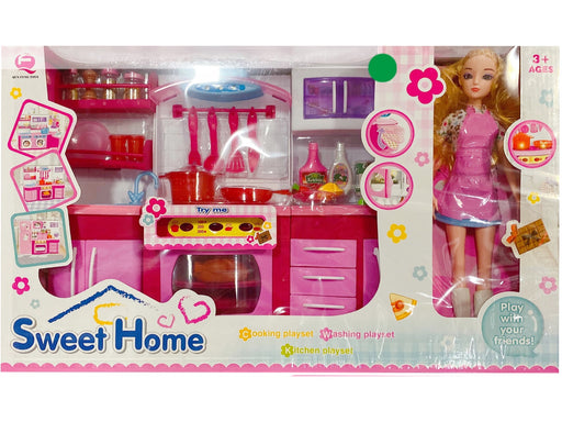 kitchen play set, pink deluxe kitchen room barbie size furniture, girl fun toys- not for children under 3 - Pilemart