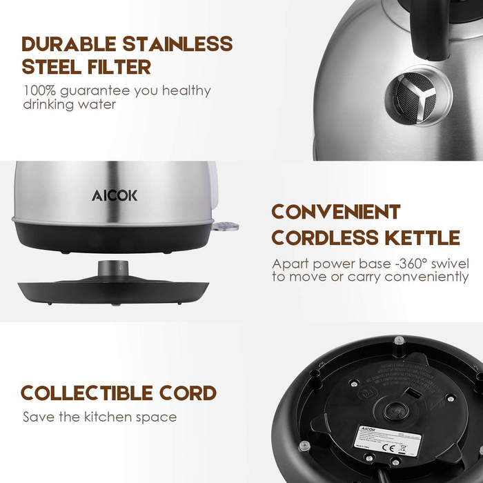 Stainless Steel Electric Kettle 1.7L (Limit 2 per order)