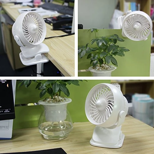 Rechargeable Portable Clip on Fan 4 Speed (White)