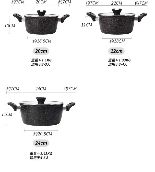 Non Stick Aluminum Die-Casting Dutch Oven Marble Stone Coating Stock Pot with Lid - Pilemart