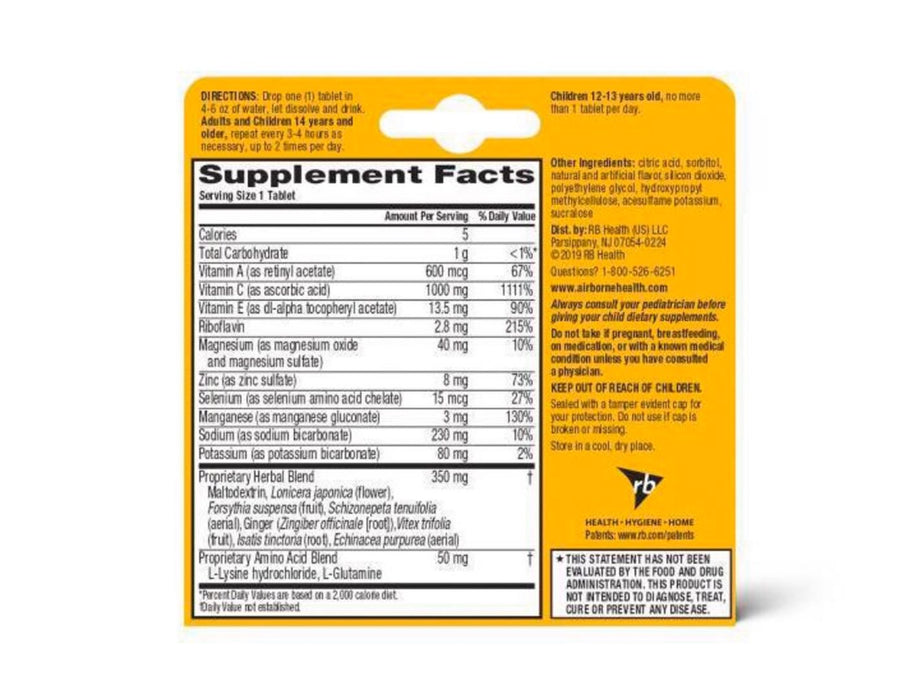 Airborne Vitamin C Immune Support Effervescent Tablets-10ct Zesty Orange - Pilemart