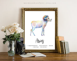 Aries Gifts, Zodiac Sign Print, Astrology Gifts, Poster, Art Print, Aries Zodiac Print, Astrology Print, Astrological Sign, Aries Star Sign