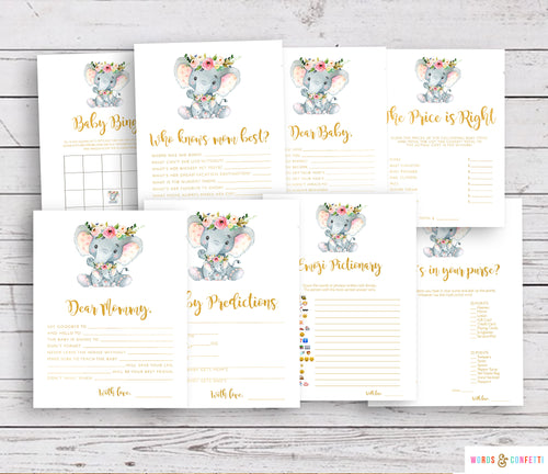 Baby Shower Games Elephant, Baby Shower Games Printable, Floral, Girl Baby Shower Games, Baby Bingo, Who Knows Mom Best, Wishes For Baby