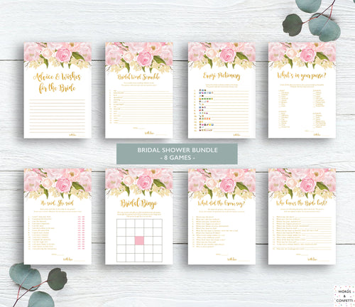 Bridal-Shower-Games-Printable-Bridal-Emoji-Pictionary-pink-and-gold
