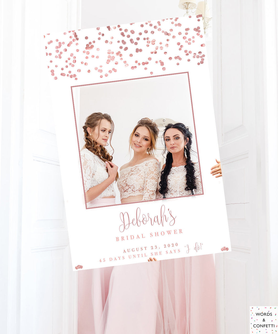Bridal Shower Decorations Rose Gold, Bridal Shower Photo Prop Frame, Bridal Shower Photo Booth Frame Printed, Bridal Shower Sign, Wedding