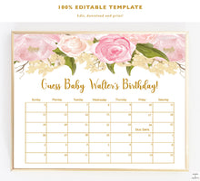 Load image into Gallery viewer, Due Date Calendar Game, Printable, Baby Shower Games Girl, Guess Babys Birthday, Guess Baby Items, Floral, Babyshower, Download, PDF, Gold