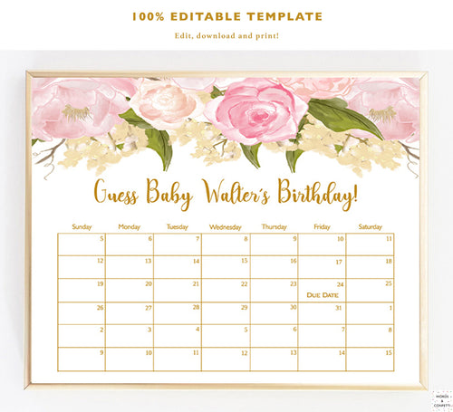 Due Date Calendar Game, Printable, Baby Shower Games Girl, Guess Babys Birthday, Guess Baby Items, Floral, Babyshower, Download, PDF, Gold