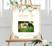 Load image into Gallery viewer, Engagement Party Decorations Gold, Engagement Sign Board, Photo Welcome Sign Wedding, Personalized With Names, Engagement Party Banner