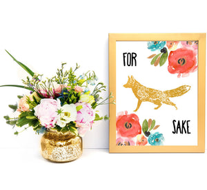 "Funny Prints Dorm Decor ""For Fox Sake"" Teen Decor Wall Art For Teens Fox Print Floral Fox Fun prints Funny Quote Prints Gold fox printable"